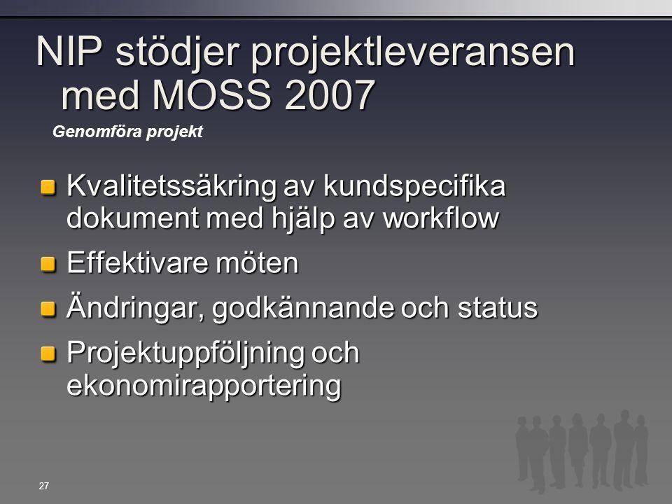 27 NIP stödjer projektleveransen med MOSS 2007 Kvalitetssäkring av kundspecifika dokument med hjälp av workflow Effektivare möten Ändringar, godkännan