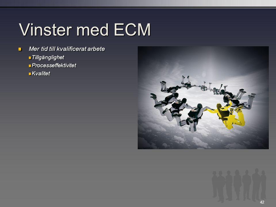 42 Vinster med ECM Mer tid till kvalificerat arbete TillgänglighetProcesseffektivitetKvalitet