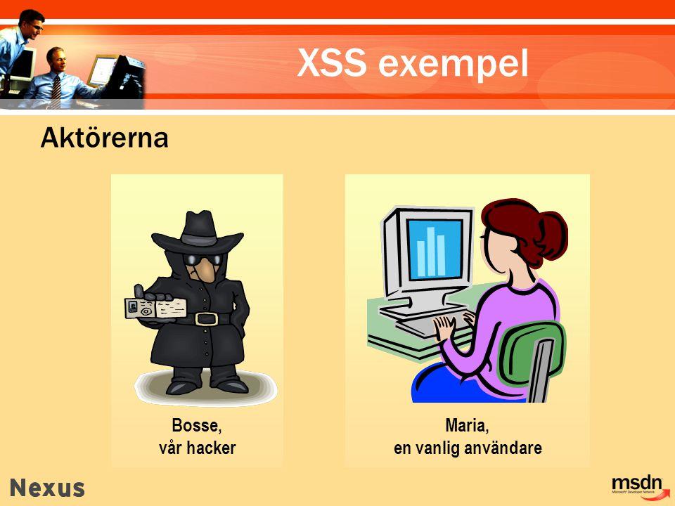 XSS exempel Aktörerna Bosse, vår hacker Maria, en vanlig användare