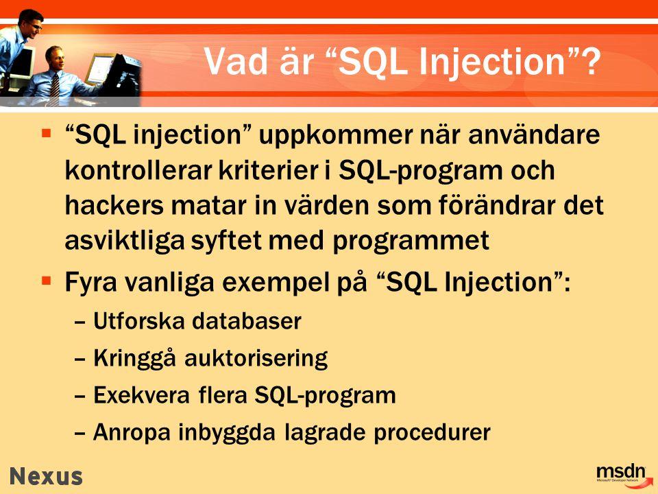 Vad är SQL Injection .