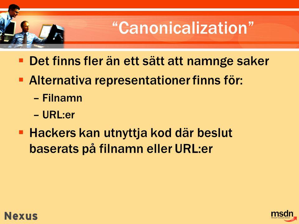 Canonicalization  Det finns fler än ett sätt att namnge saker  Alternativa representationer finns för: –Filnamn –URL:er  Hackers kan utnyttja kod där beslut baserats på filnamn eller URL:er