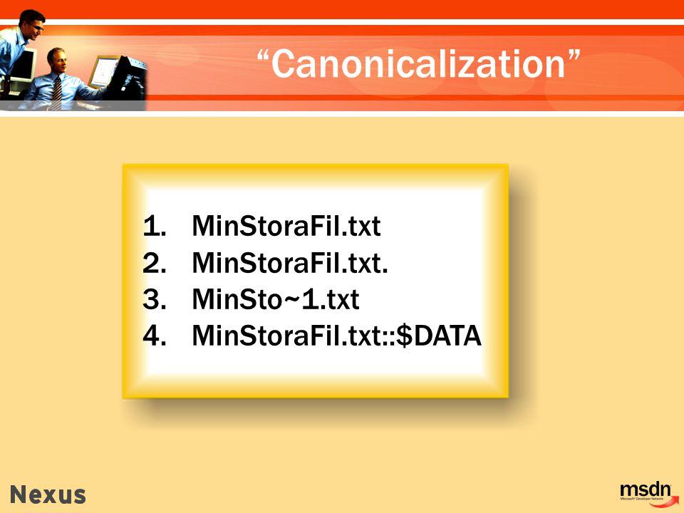 1. MinStoraFil.txt 2. MinStoraFil.txt. 3. MinSto~1.txt 4. MinStoraFil.txt::$DATA Canonicalization