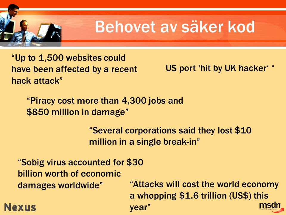 Behovet av säker kod US port hit by UK hacker' Several corporations said they lost $10 million in a single break-in Up to 1,500 websites could have been affected by a recent hack attack Piracy cost more than 4,300 jobs and $850 million in damage Sobig virus accounted for $30 billion worth of economic damages worldwide Attacks will cost the world economy a whopping $1.6 trillion (US$) this year