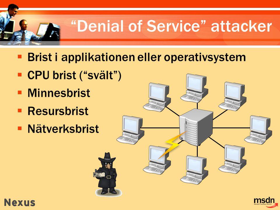  Brist i applikationen eller operativsystem  CPU brist ( svält )  Minnesbrist  Resursbrist  Nätverksbrist Denial of Service attacker