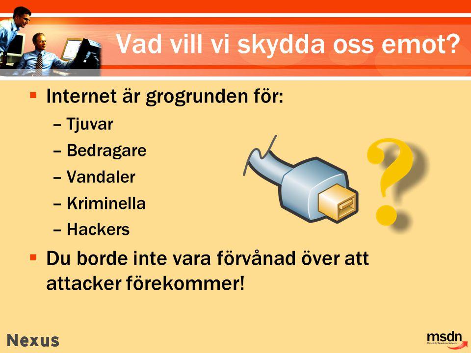 Vanliga attacker Tappad uppkoppling Organisations- attacker Skyddad data Säkerhetsintrång av misstag Automatiserade attacker Hackers Virus, trojaner, maskar Denial of Service (DoS) DoS