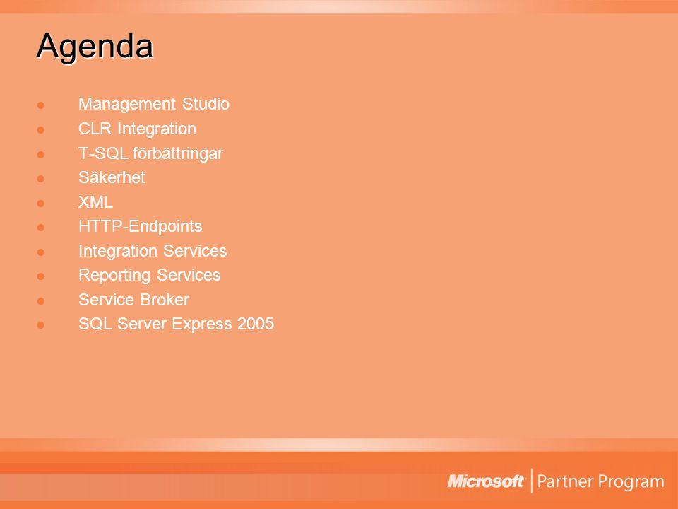 Agenda Management Studio CLR Integration T-SQL förbättringar Säkerhet XML HTTP-Endpoints Integration Services Reporting Services Service Broker SQL Server Express 2005