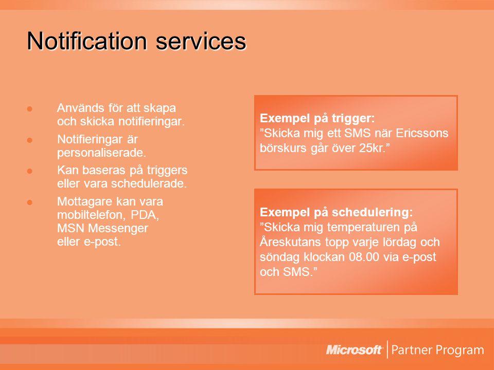 Notification services Används för att skapa och skicka notifieringar.