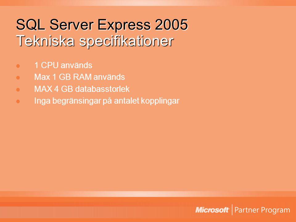 SQL Server Express 2005 Tekniska specifikationer 1 CPU används Max 1 GB RAM används MAX 4 GB databasstorlek Inga begränsingar på antalet kopplingar