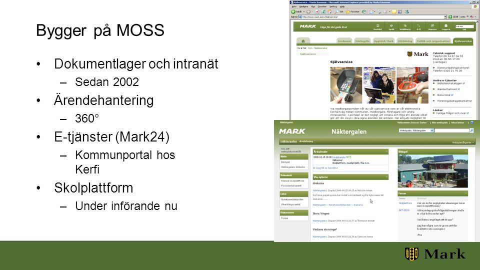 Bygger på MOSS Dokumentlager och intranät –Sedan 2002 Ärendehantering –360° E-tjänster (Mark24) –Kommunportal hos Kerfi Skolplattform –Under införande nu