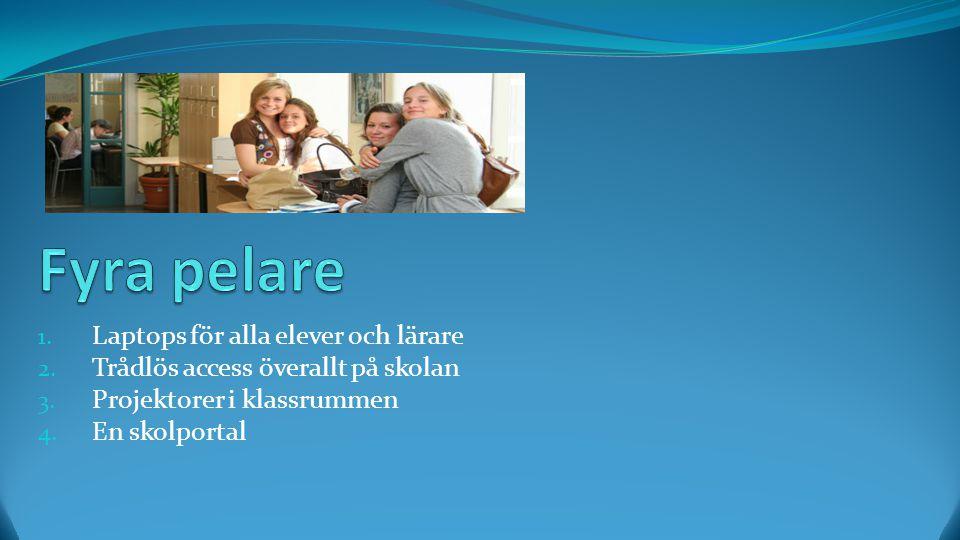 1. Laptops för alla elever och lärare 2. Trådlös access överallt på skolan 3.