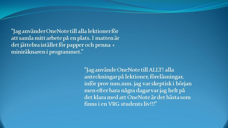 Jag använde OneNote till ALLT. alla anteckningar på lektioner, föreläsningar, inför prov mm.mm.