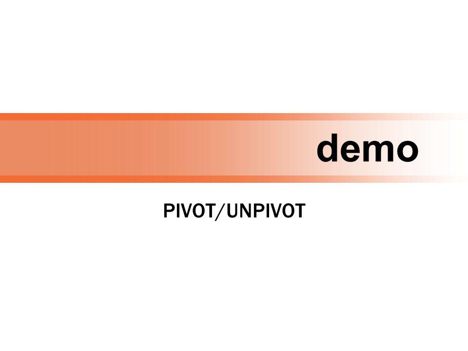 demo PIVOT/UNPIVOT