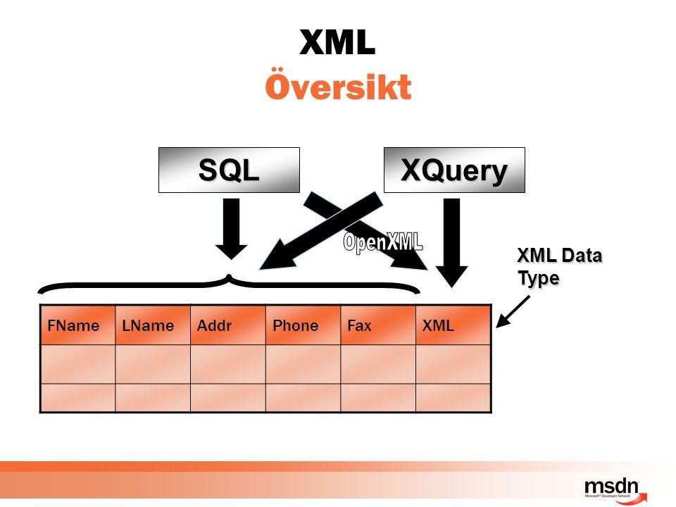XML Översikt FNameLNameAddrPhoneFaxXML SQL XML Data Type XQuery