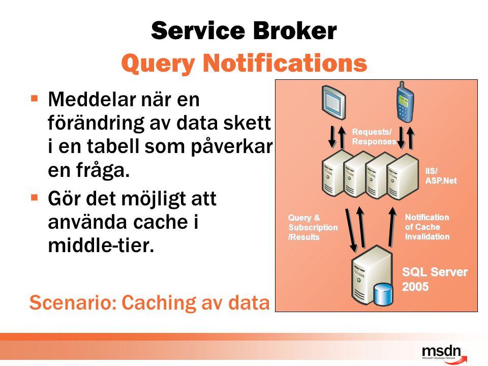 Service Broker Query Notifications  Meddelar när en förändring av data skett i en tabell som påverkar en fråga.