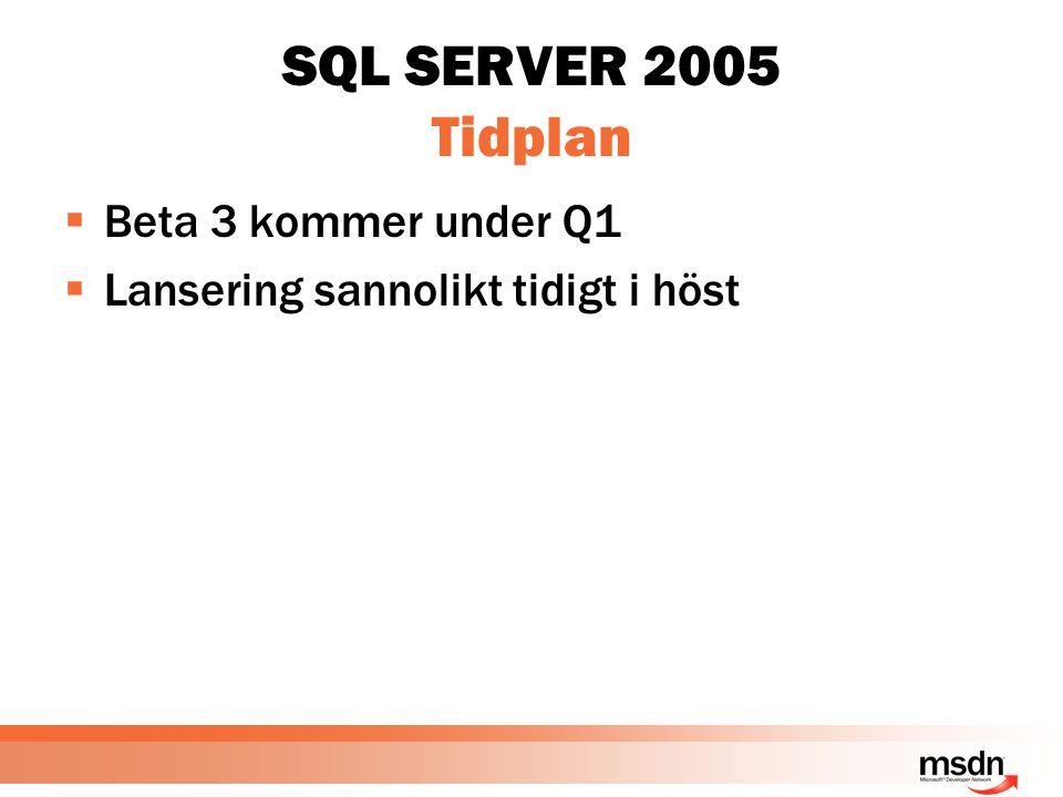 SQL SERVER 2005 Tidplan  Beta 3 kommer under Q1  Lansering sannolikt tidigt i höst