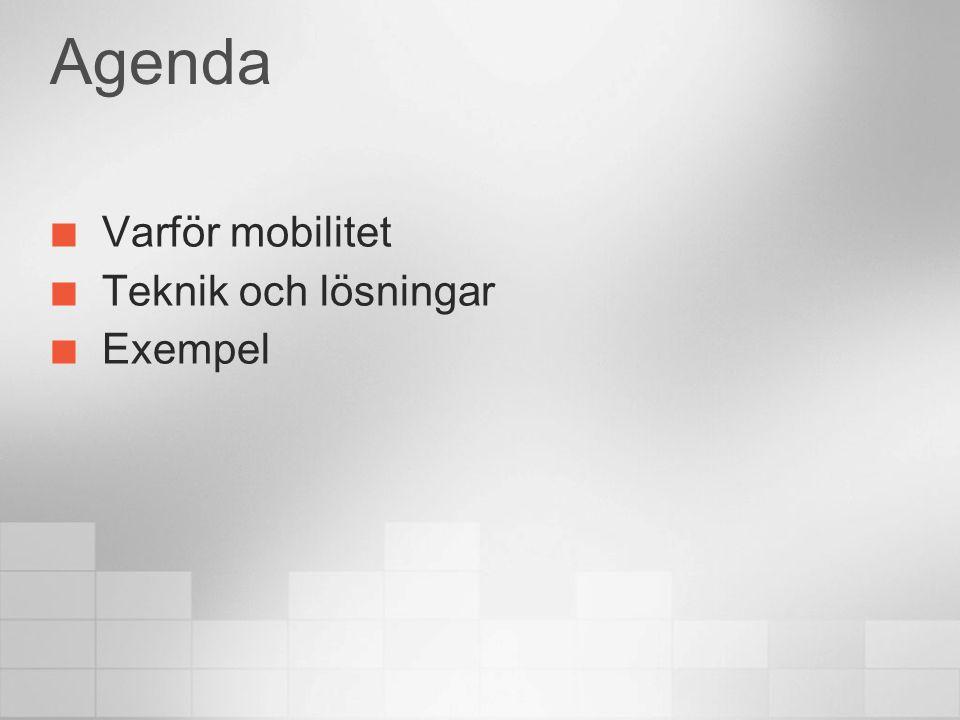 Agenda Varför mobilitet Teknik och lösningar Exempel