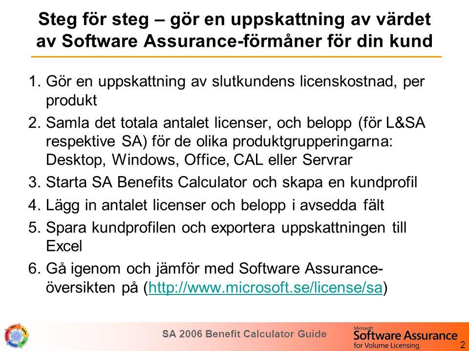 SA 2006 Benefit Calculator Guide 3 Summera din kunds inköp och prognos License Count Spend on Renewals (3 SA) Spend on New Purchases (L+3SA) Spend on Year 1 Purchases /True-up* Spend on Year 2 Purchases /True- up* Spend on Year 3 Purchases /True- up* Desktop -Windows -Office -Core CAL 10,000$500,000$1,000,000$100,000 Windows Client** Office Applications** 2,000$200,000$400,000$40,000 CALs**$25,000$50,000$5,000 Servers1,000$400,000$800,000$80,000 * Eventuella tillägg under avtalstiden **VIKTIGT: lägg inte in licenser och belopp som redan finns med under Desktop. Vad gäller belopp ( Spend ), använd lämpligen det faktiska belopp som kunden betalar till en Microsoft partner eller direkt till Microsoft (Enterprise Agreement).