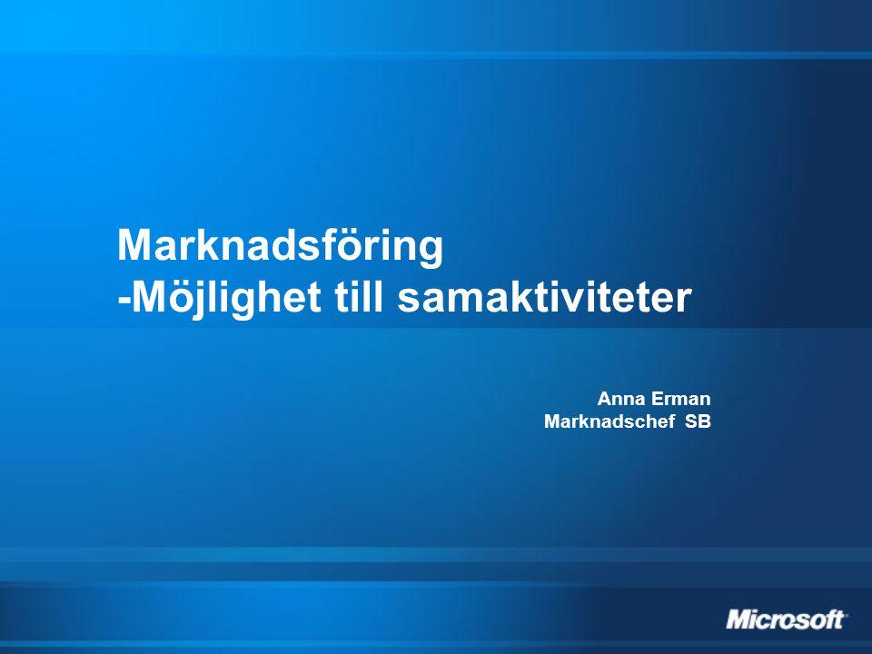 Marknadsföring -Möjlighet till samaktiviteter Anna Erman Marknadschef SB