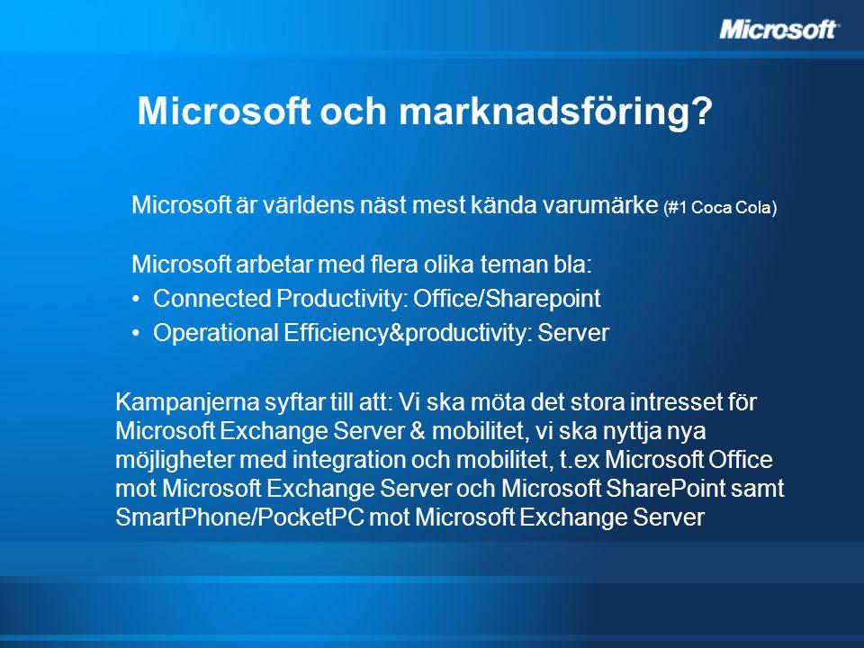 Microsoft och marknadsföring? Microsoft är världens näst mest kända varumärke (#1 Coca Cola) Microsoft arbetar med flera olika teman bla: Connected Pr
