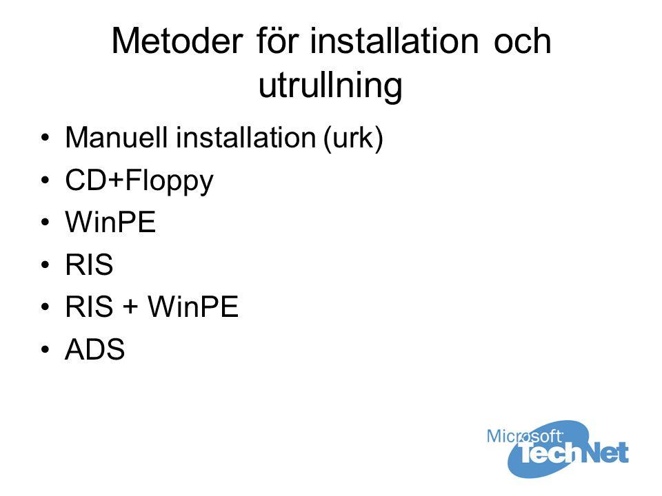 Metoder för installation och utrullning Manuell installation (urk) CD+Floppy WinPE RIS RIS + WinPE ADS