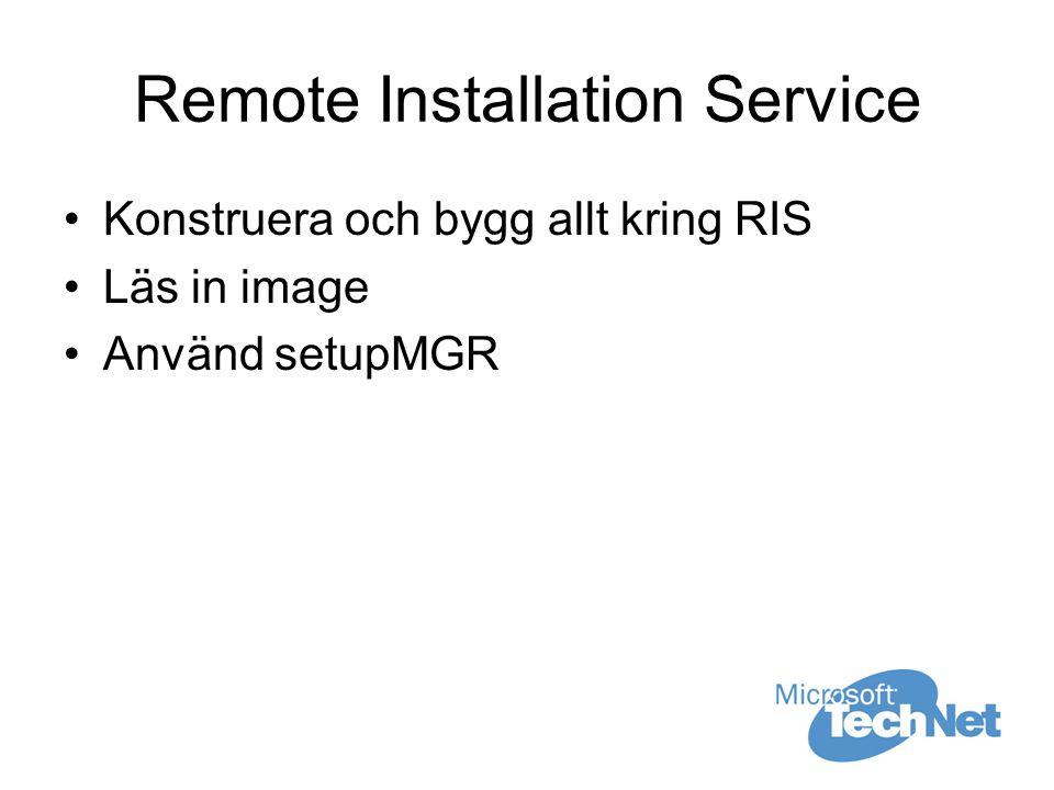 Remote Installation Service Konstruera och bygg allt kring RIS Läs in image Använd setupMGR