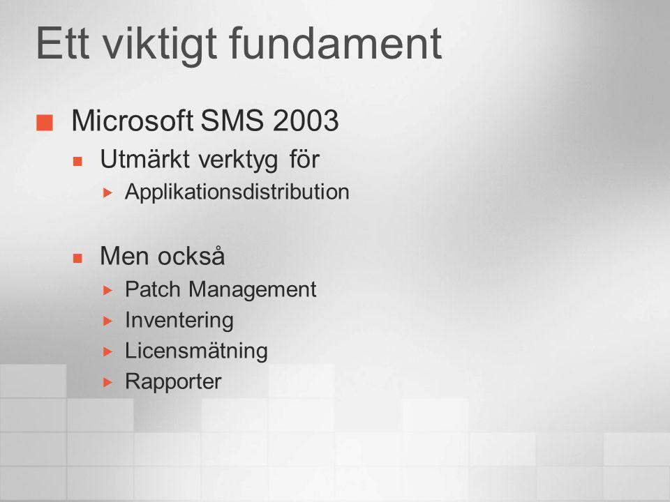 Ett viktigt fundament Microsoft SMS 2003 Utmärkt verktyg för  Applikationsdistribution Men också  Patch Management  Inventering  Licensmätning  Rapporter
