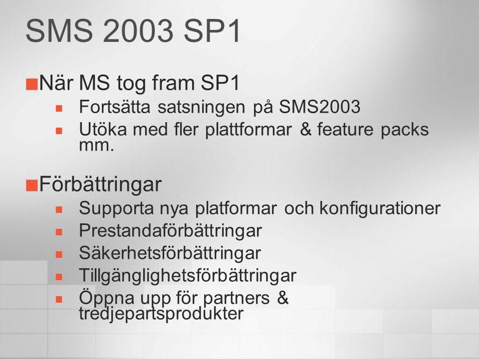 SMS 2003 SP1 När MS tog fram SP1 Fortsätta satsningen på SMS2003 Utöka med fler plattformar & feature packs mm.