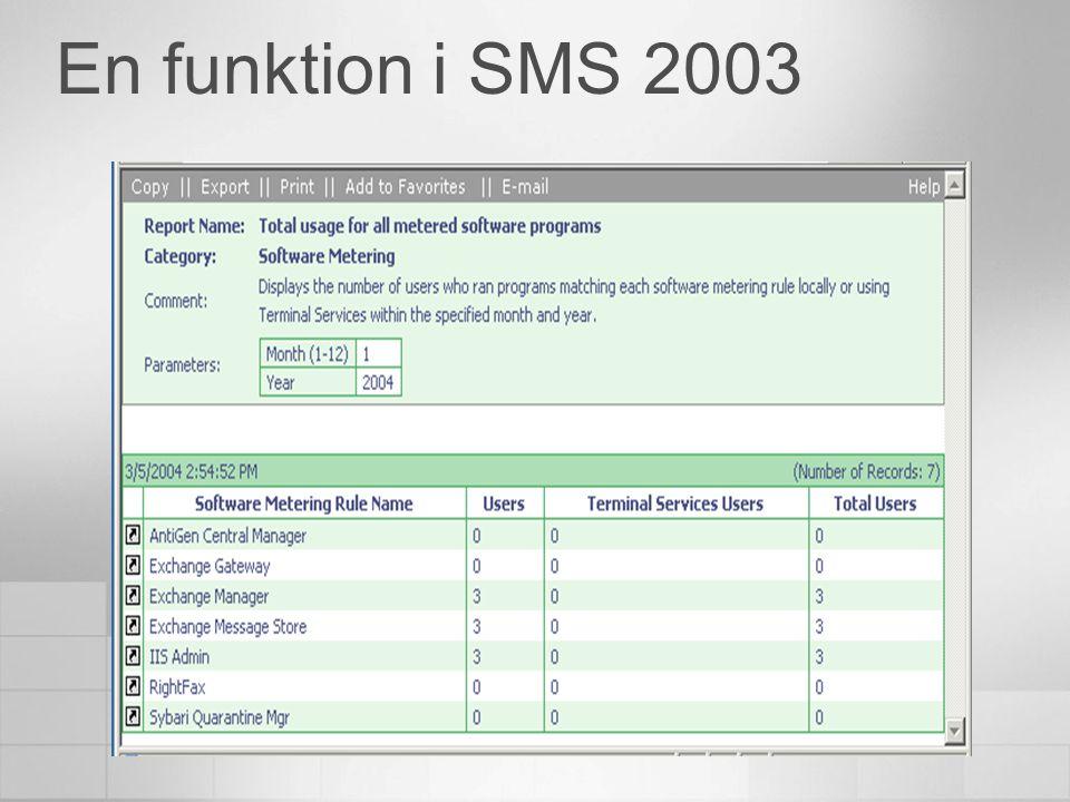 En funktion i SMS 2003
