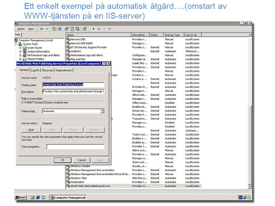 Ett enkelt exempel på automatisk åtgärd….(omstart av WWW-tjänsten på en IIS-server)