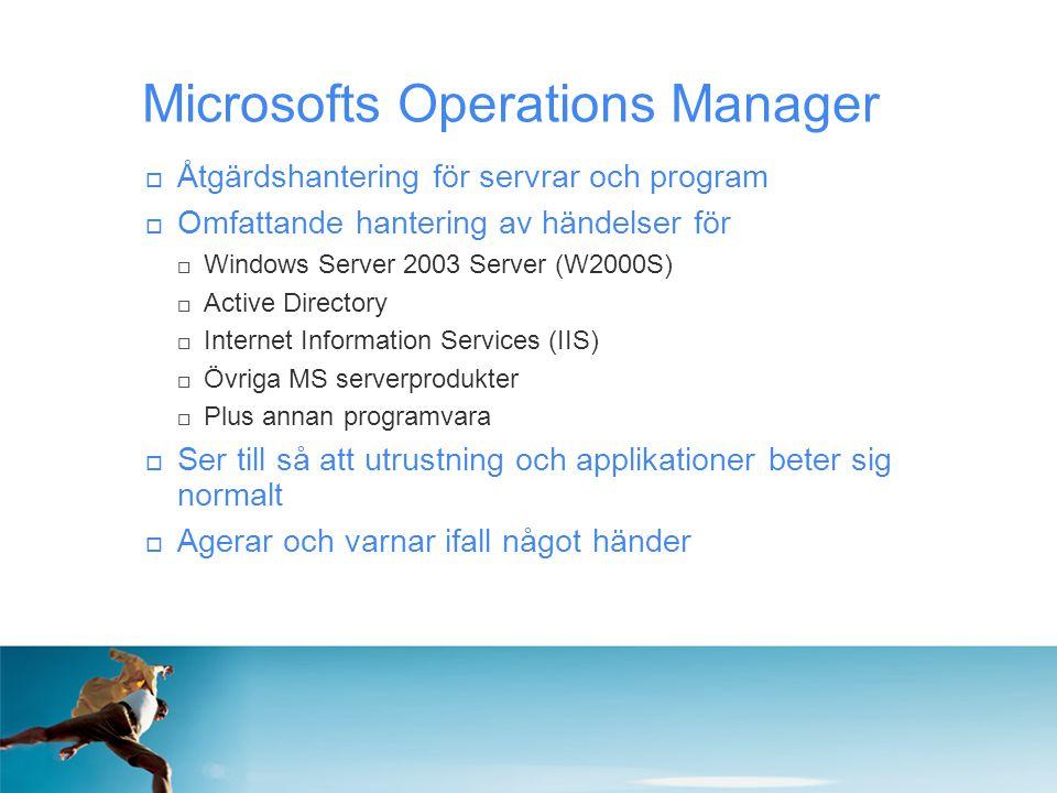  Åtgärdshantering för servrar och program  Omfattande hantering av händelser för  Windows Server 2003 Server (W2000S)  Active Directory  Internet