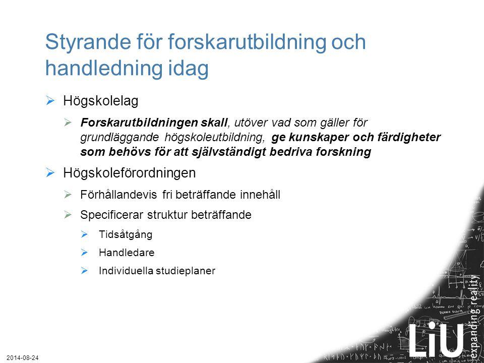 2014-08-24 Olika typer av handledning  Relationen till handledaren är längre än ett genomsnittligt svenskt äktenskap  Mästar-lärlingsmodellen  Lärandet ingår i en social praxis, utveckla förmågor och värderingar  Kritik: Tendens till oreflekterad imitation, ojämnställd relation  Peer-to-peer-modellen  Dynamisk förhandlingssituation – avseende problem med slutförandet, angående tidplaner, ansvar, roller och befogenheter  Lärandet ömsesidigt – doktorander lär av och med varandra, handledaren är också en lärande