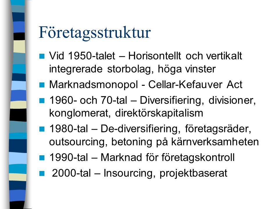 Företagsstruktur Vid 1950-talet – Horisontellt och vertikalt integrerade storbolag, höga vinster Marknadsmonopol - Cellar-Kefauver Act 1960- och 70-tal – Diversifiering, divisioner, konglomerat, direktörskapitalism 1980-tal – De-diversifiering, företagsräder, outsourcing, betoning på kärnverksamheten 1990-tal – Marknad för företagskontroll 2000-tal – Insourcing, projektbaserat