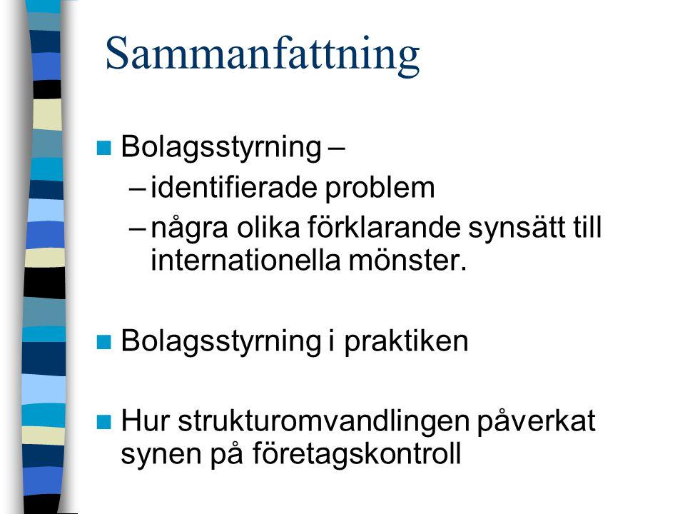 Sammanfattning Bolagsstyrning – –identifierade problem –några olika förklarande synsätt till internationella mönster.
