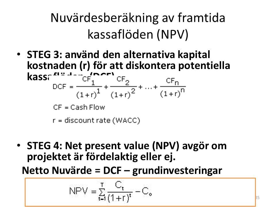 Investerings bedömning Vi använder Netto Nuvärde (Net Present Value rule /NPV) för att bedöma om ett företags investering är fördelaktig eller inte. S