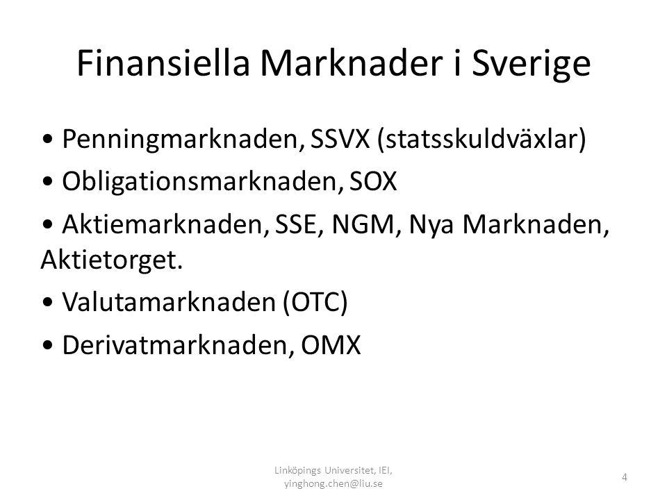 Det Finansiella Systemet: uppgifter 1. Sprida konsumtion över tid och rum. 2. Hantera risk. 3. Tillhandahålla likviditet samt betalningar. 4. Separati