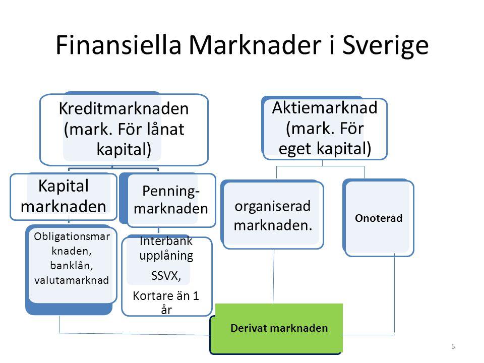 Finansiella Marknader i Sverige Penningmarknaden, SSVX (statsskuldväxlar) Obligationsmarknaden, SOX Aktiemarknaden, SSE, NGM, Nya Marknaden, Aktietorg