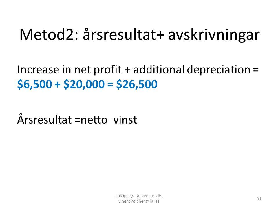 Steg2: Netto kassaflöde ≠ vinst Metod 1: Rörelseresultat före avskrivningar-skatt Increase in (revenues – cash expenses) – additional taxes = $30,000