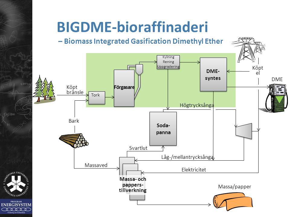 BIGDME-bioraffinaderi – Biomass Integrated Gasification Dimethyl Ether Förgasare Högtrycksånga Kylning Rening Uppgradering DME- syntes Köpt el DME Tor