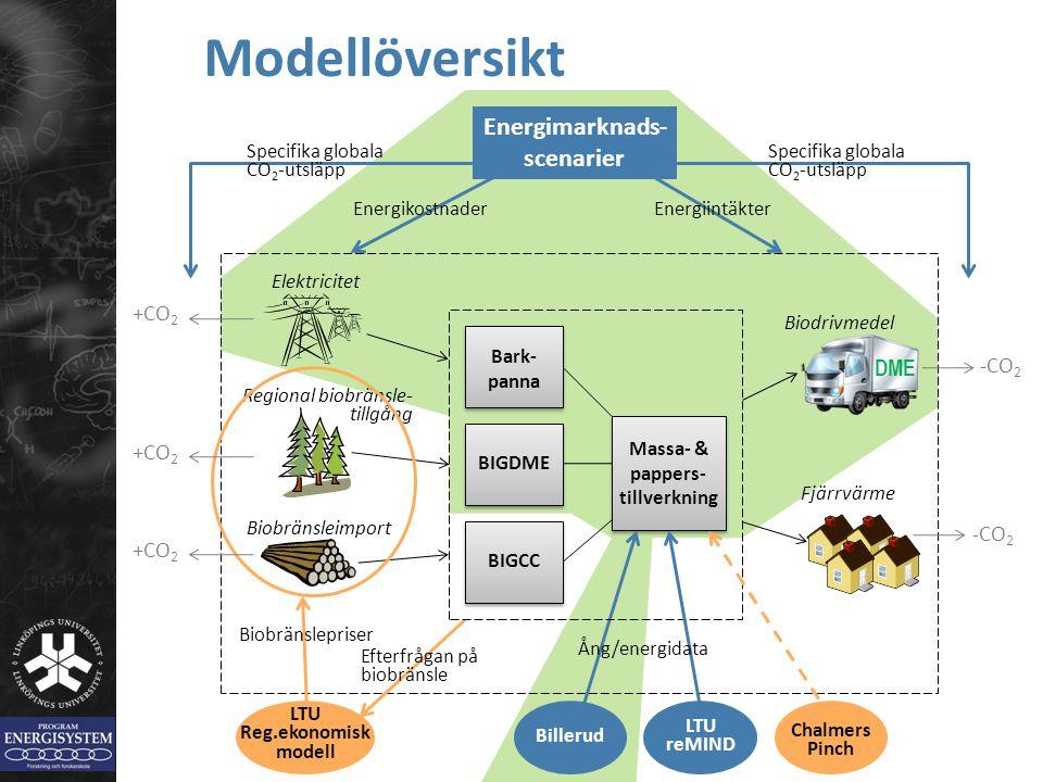 BIGCCBIGDME Bark- panna Regional biobränsle- tillgång Biobränsleimport Modellöversikt Elektricitet LTU Reg.ekonomisk modell Biobränslepriser Efterfråg