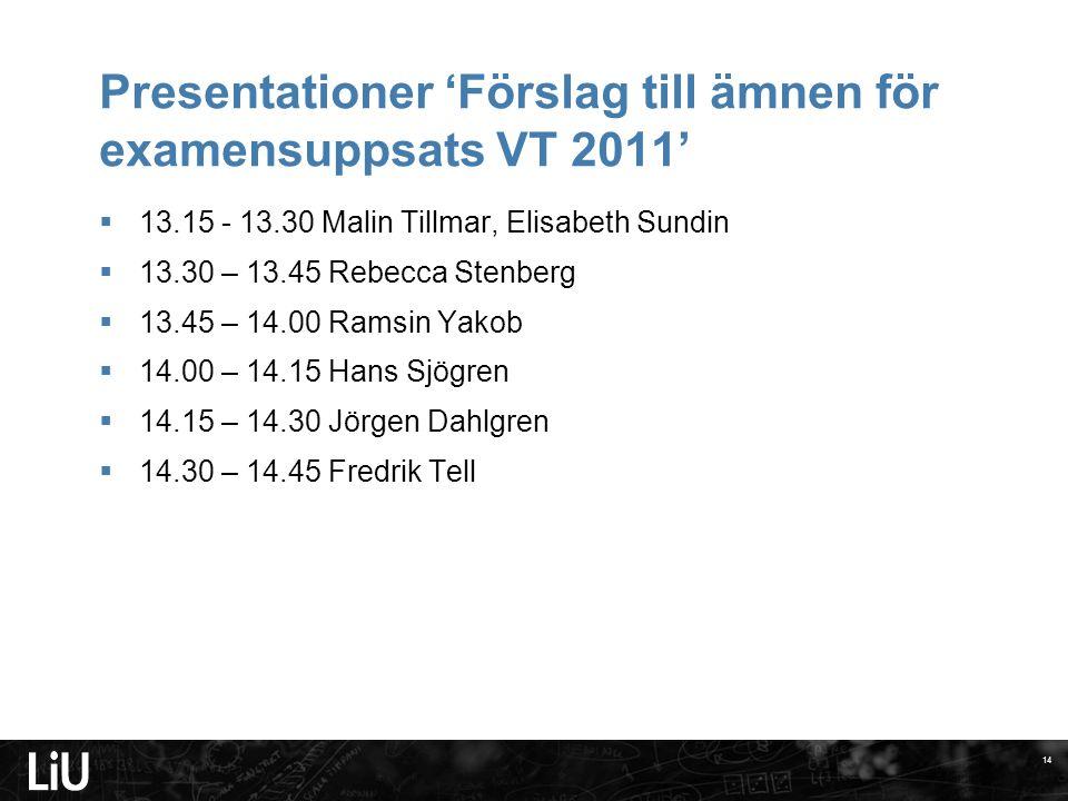 Presentationer 'Förslag till ämnen för examensuppsats VT 2011'  13.15 - 13.30 Malin Tillmar, Elisabeth Sundin  13.30 – 13.45 Rebecca Stenberg  13.4