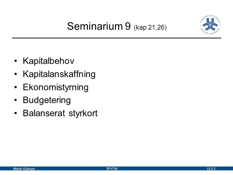 Martin KylingerTPYT16LE5:3 Kapital Real kapital –Är fysiska objekt av olika slag, t.ex.