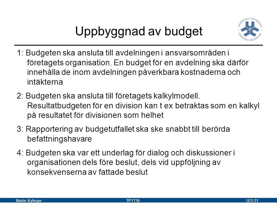 Martin KylingerTPYT16LE5:22 Budgeteringens faser Budget- direktiv Budget- uppställande Budget- fastställs VerkställighetUtfall Kontroll Återföring av information för styrning och för bättre budgetering nästa gång