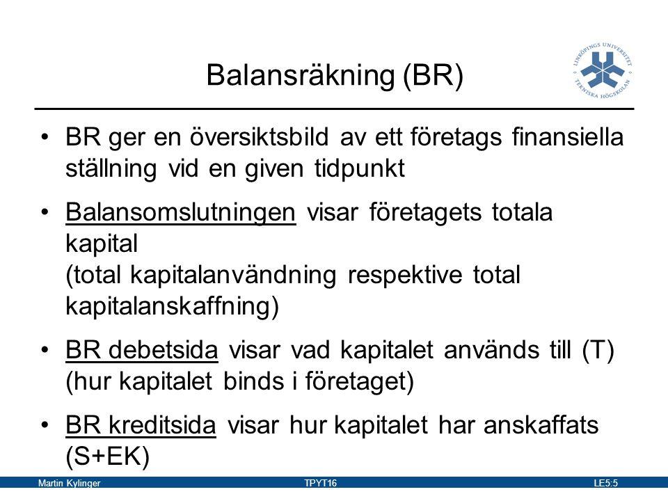 Martin KylingerTPYT16LE5:6 Kapitalbehov Kapitalbehov och kapitalanvändning varierar Anläggningskapitalintensiva företag finns inom gruv-, kraft-, cement-, skogs- och kemiindustrin Handelsbolag binder främst sina tillgångar i varulager Serviceföretag är i allmänhet inte särskilt kapitalintensiva