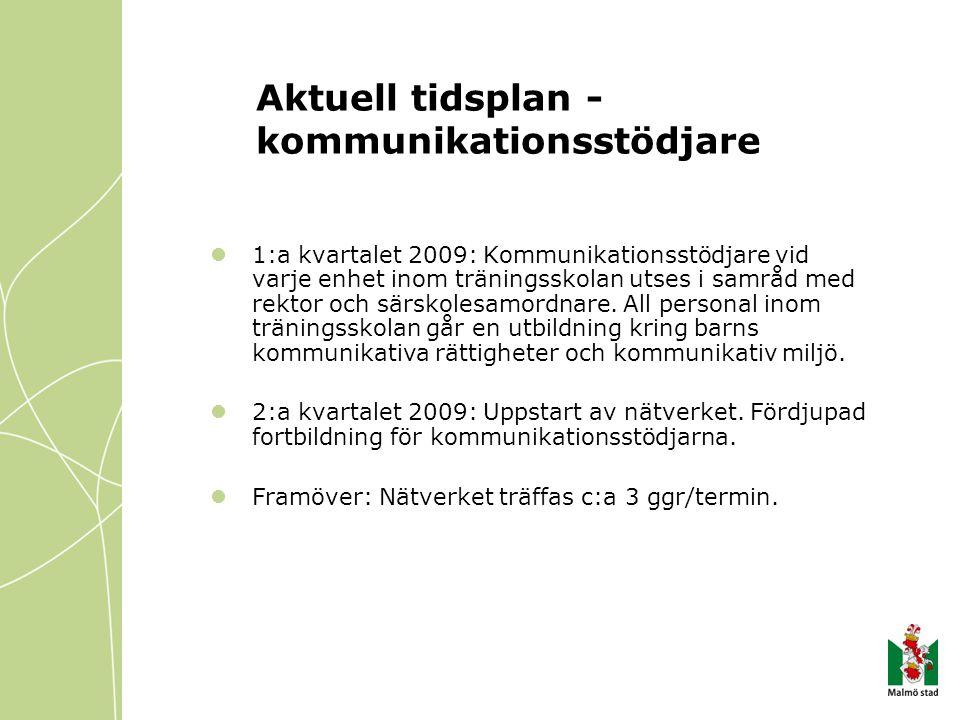 Aktuell tidsplan - kommunikationsstödjare 1:a kvartalet 2009: Kommunikationsstödjare vid varje enhet inom träningsskolan utses i samråd med rektor och särskolesamordnare.