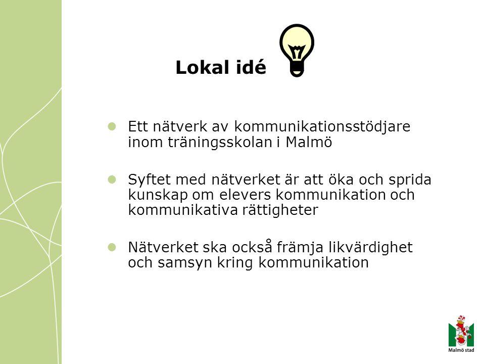 Lokal idé Ett nätverk av kommunikationsstödjare inom träningsskolan i Malmö Syftet med nätverket är att öka och sprida kunskap om elevers kommunikation och kommunikativa rättigheter Nätverket ska också främja likvärdighet och samsyn kring kommunikation
