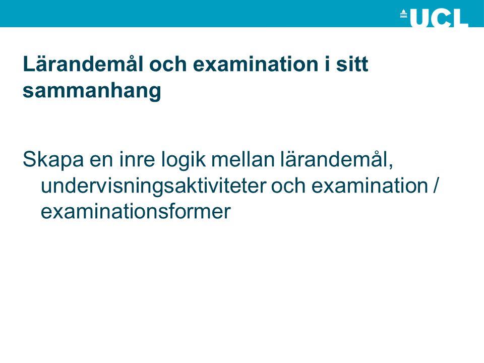 Lärandemål och examination i sitt sammanhang Skapa en inre logik mellan lärandemål, undervisningsaktiviteter och examination / examinationsformer