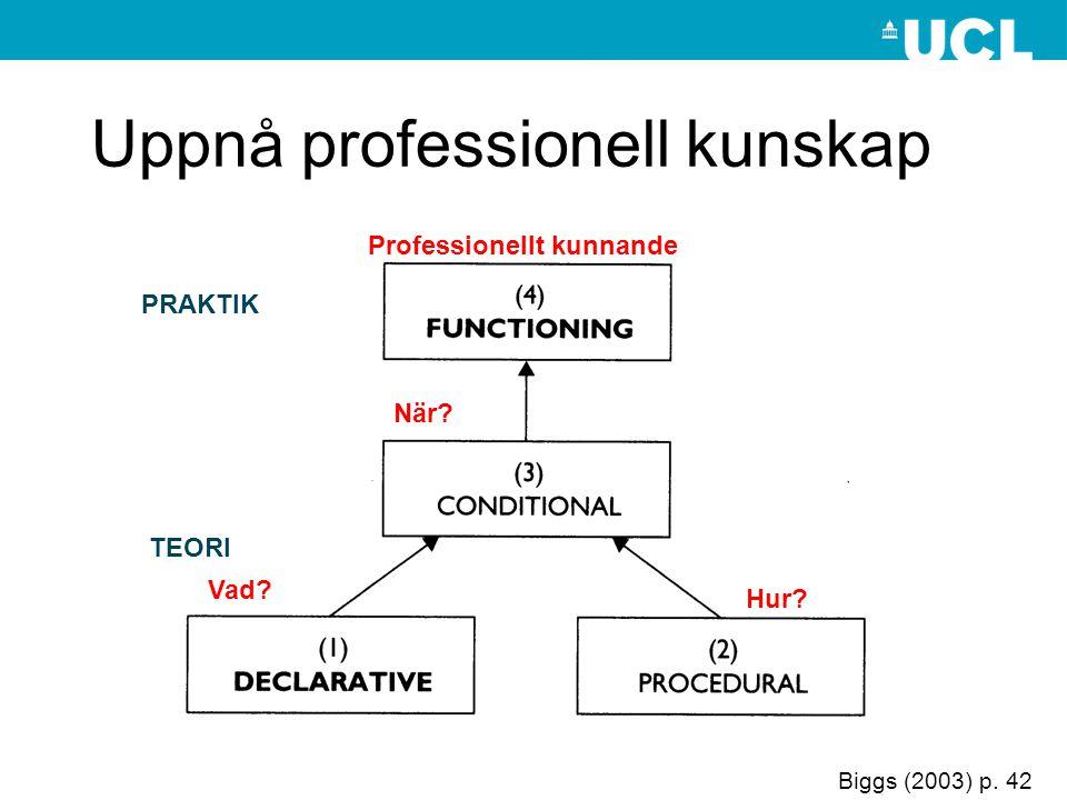Biggs (2003) p. 42 Uppnå professionell kunskap Vad Hur När Professionellt kunnande TEORI PRAKTIK