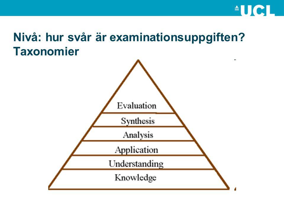 Nivå: hur svår är examinationsuppgiften? Taxonomier