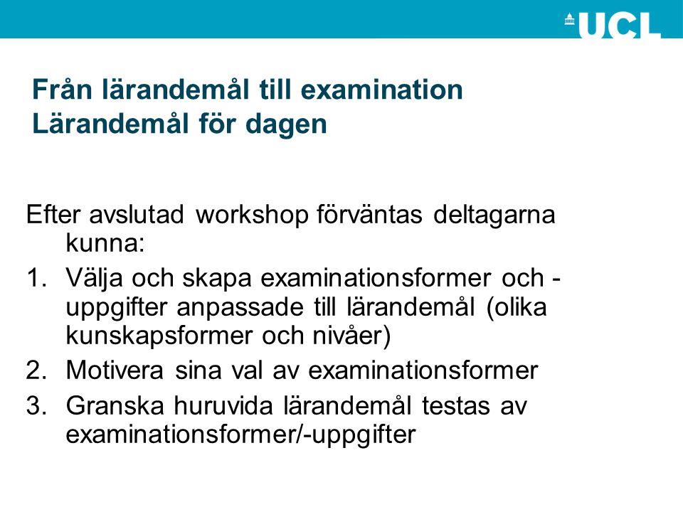 Efter avslutad workshop förväntas deltagarna kunna: 1.Välja och skapa examinationsformer och - uppgifter anpassade till lärandemål (olika kunskapsform