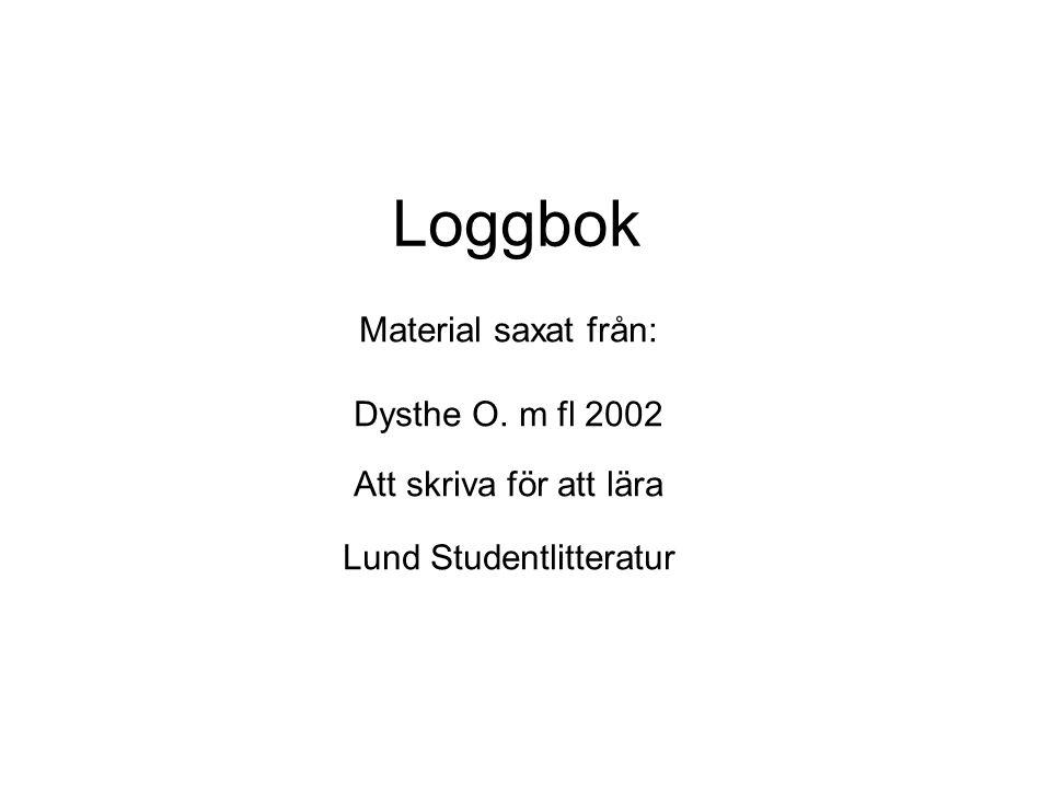 Loggbok Material saxat från: Dysthe O. m fl 2002 Att skriva för att lära Lund Studentlitteratur